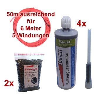 (Set13) Einzeldraht 6m, 4x Vergußmasse 425g, 2x Abstreumaterial 1L